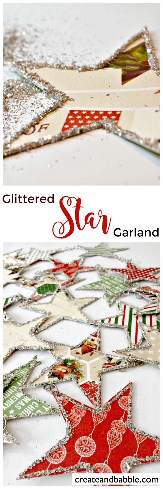 Glittery Star Christmas Garland.