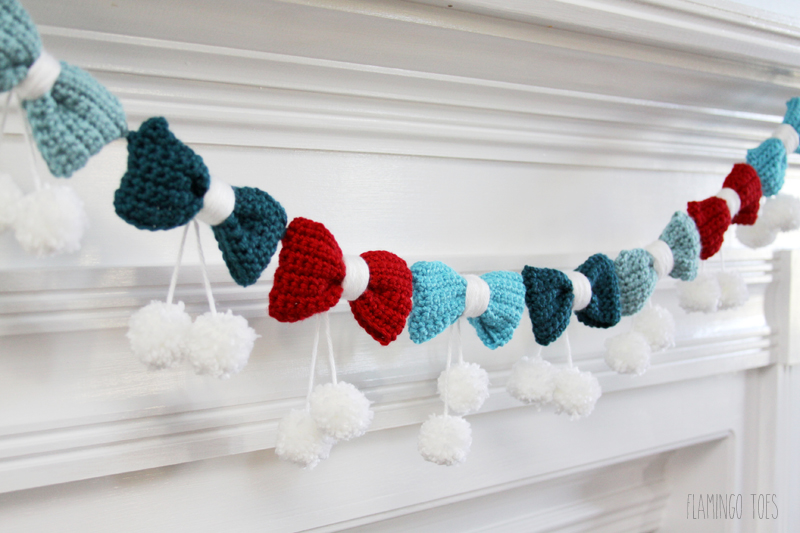 Pom Poms And Bows Crochet Garland.