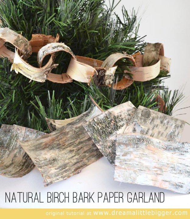 Natural Birch Bark Paper Garland.