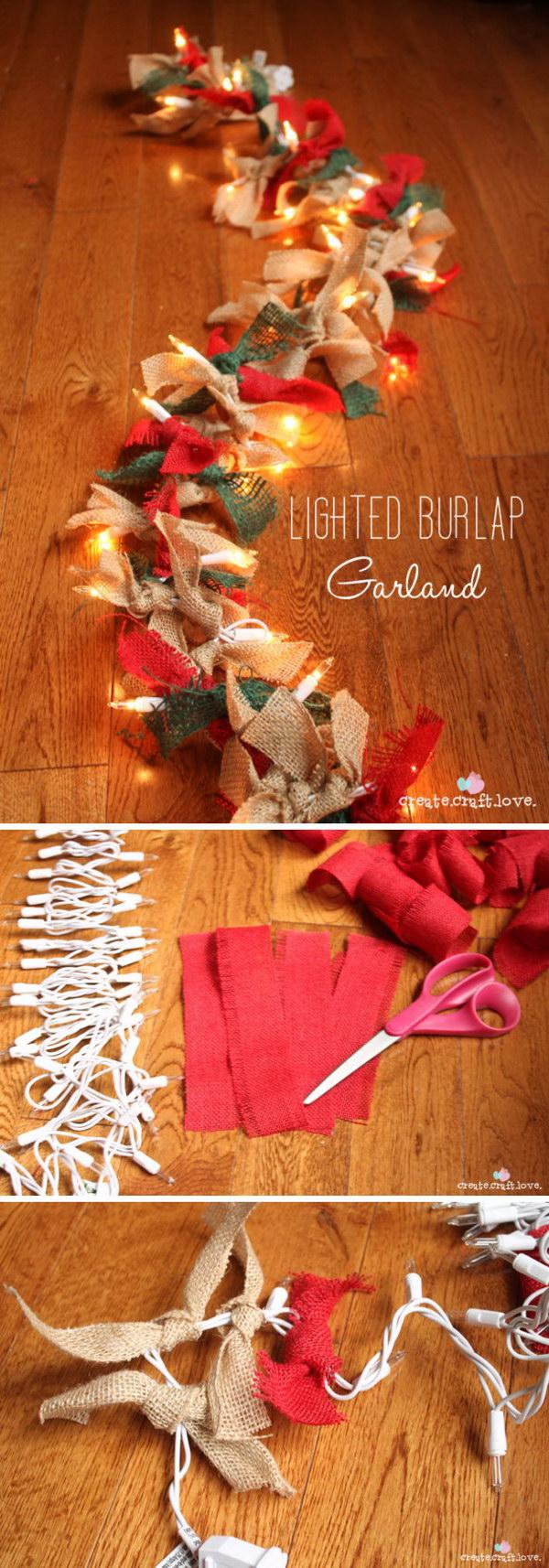 Lighted Burlap Garland.