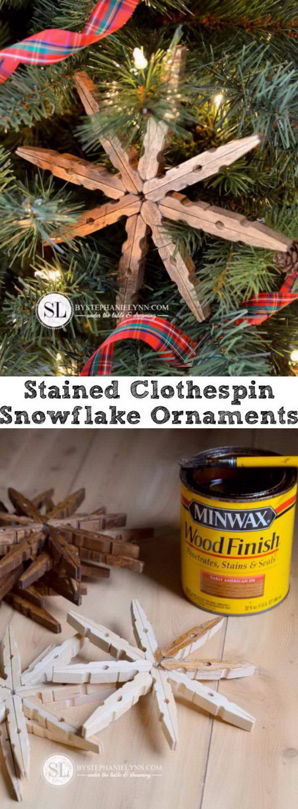 Stained Clothespin Snowflake Ornaments.