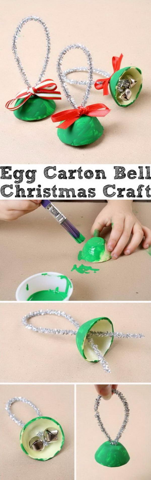 Egg Carton Bell Christmas Craft.