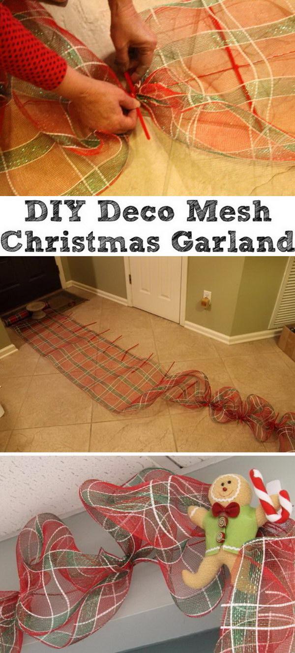 DIY Deco Mesh Garland.