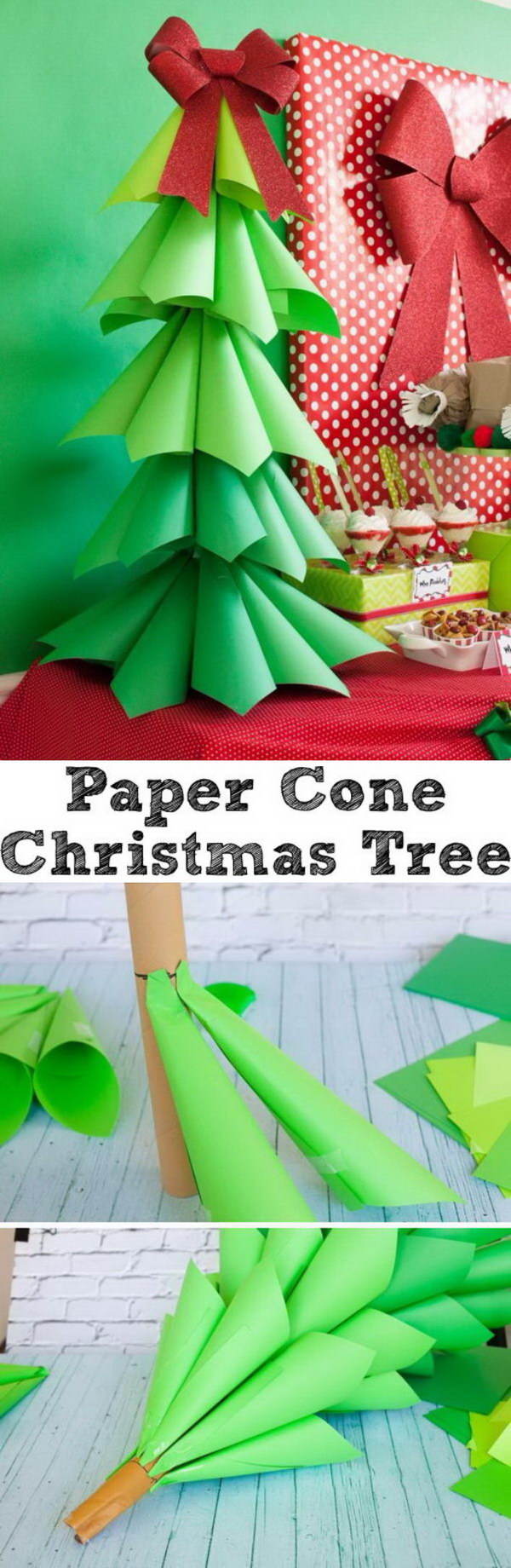 Giant Ombre Paper Cone Christmas Trees.