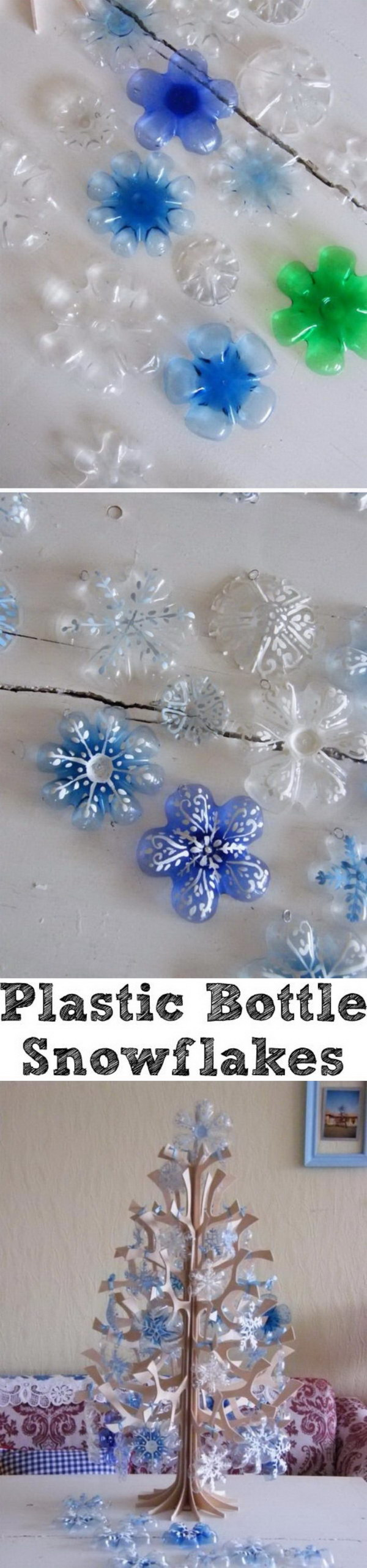 Plastic Bottle Snowflakes.