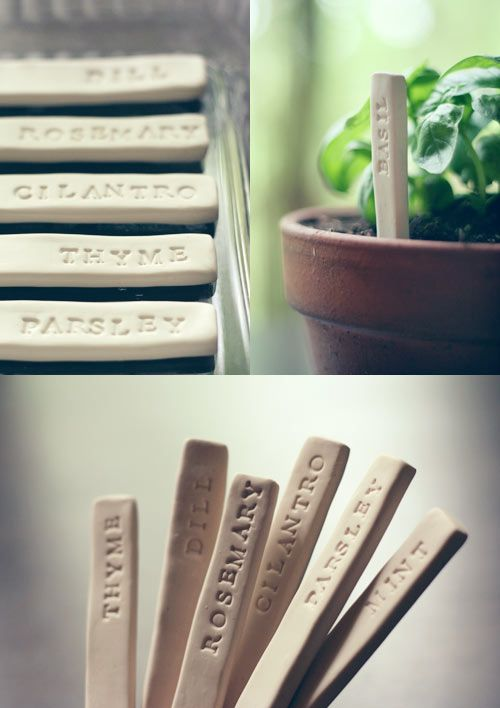 DIY Garden Markers Made Out of Polymer Clay.