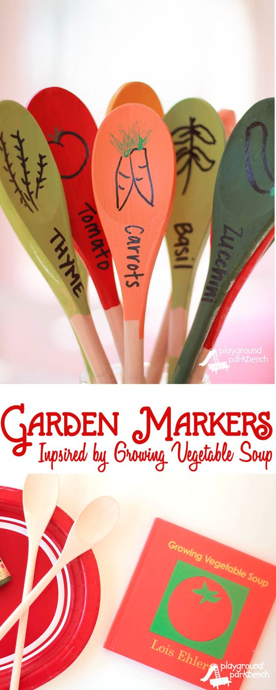 DIY Garden Markers Made Out of Wooden Kitchen Spoons.