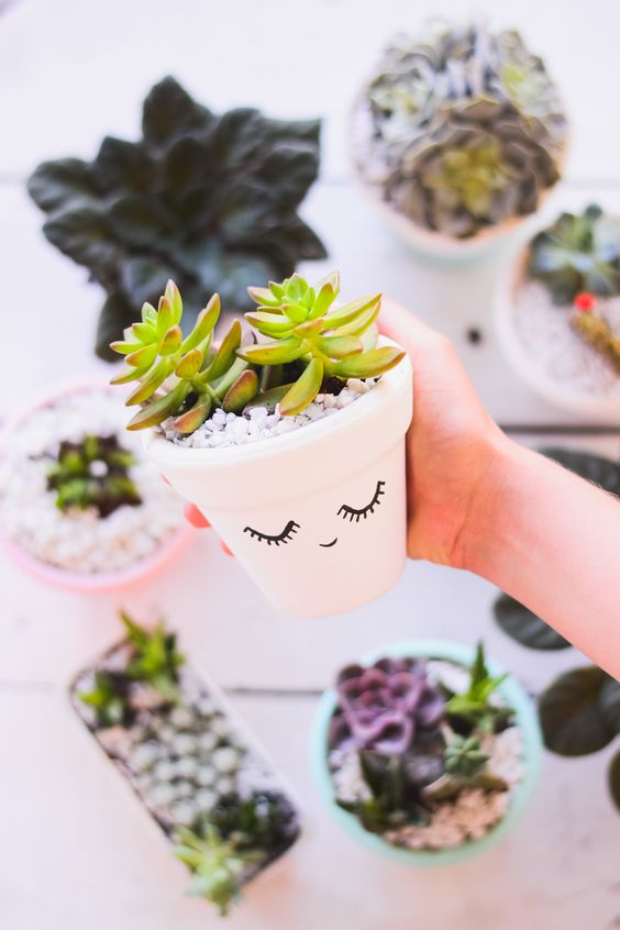 DIY Painted Planter.
