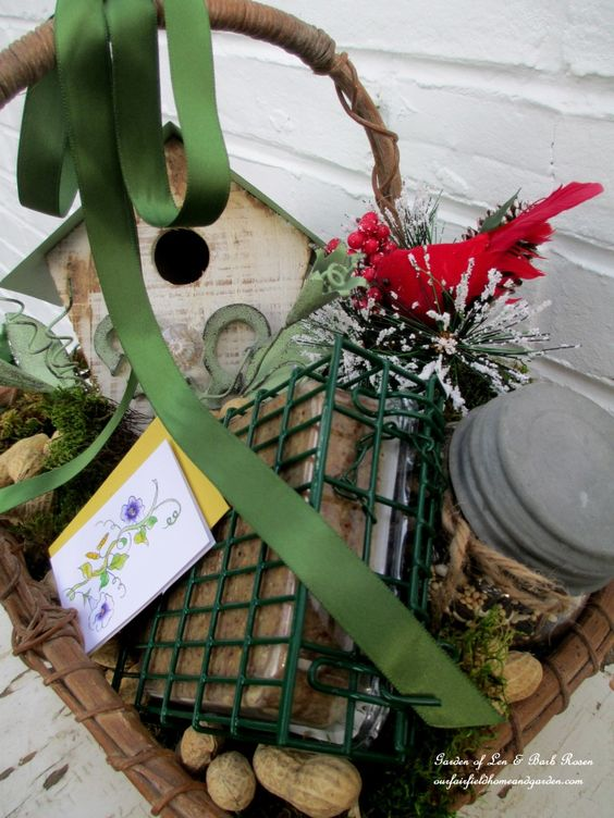 Gift Basket For the gardener who also Loves Enticing Birds into Their Garden.