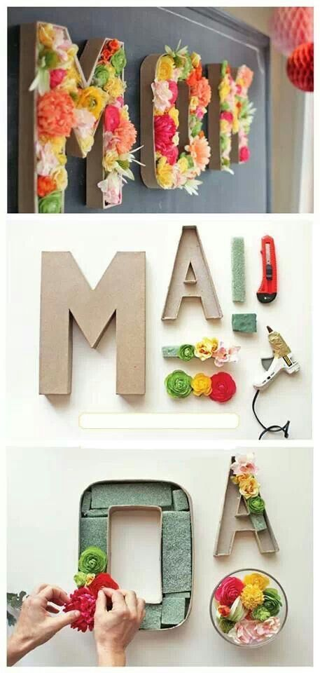DIY Floral Monogram for Mom.