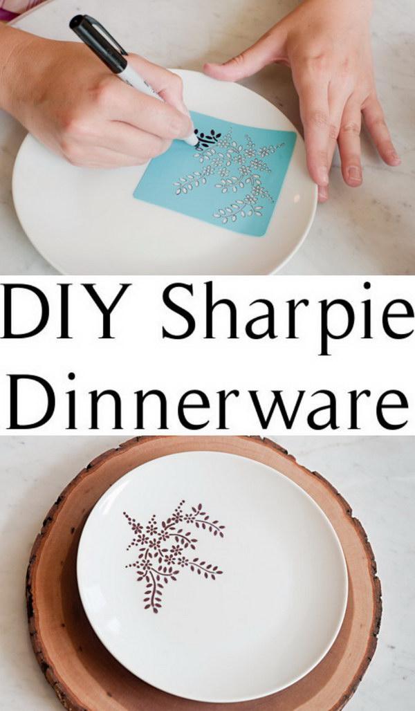 DIY Sharpie Dinnerware.
