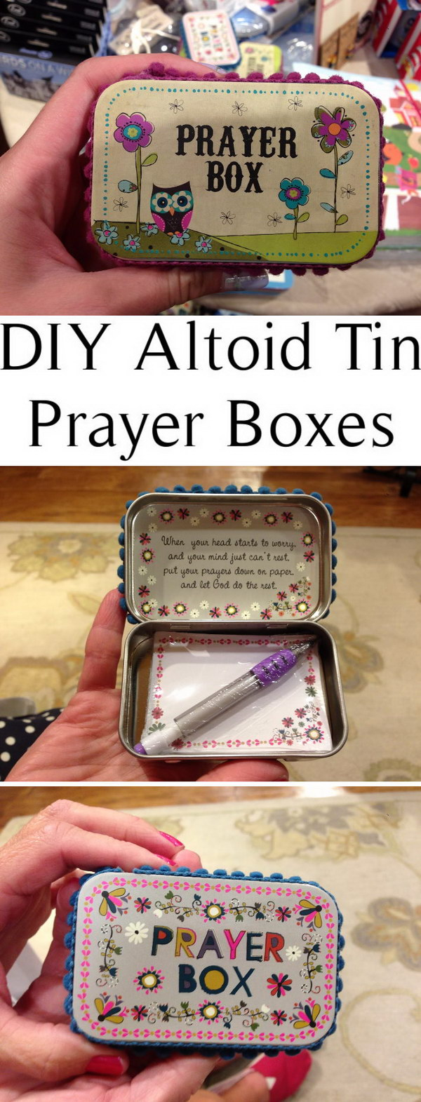 DIY Altoid Tin Prayer Boxes.