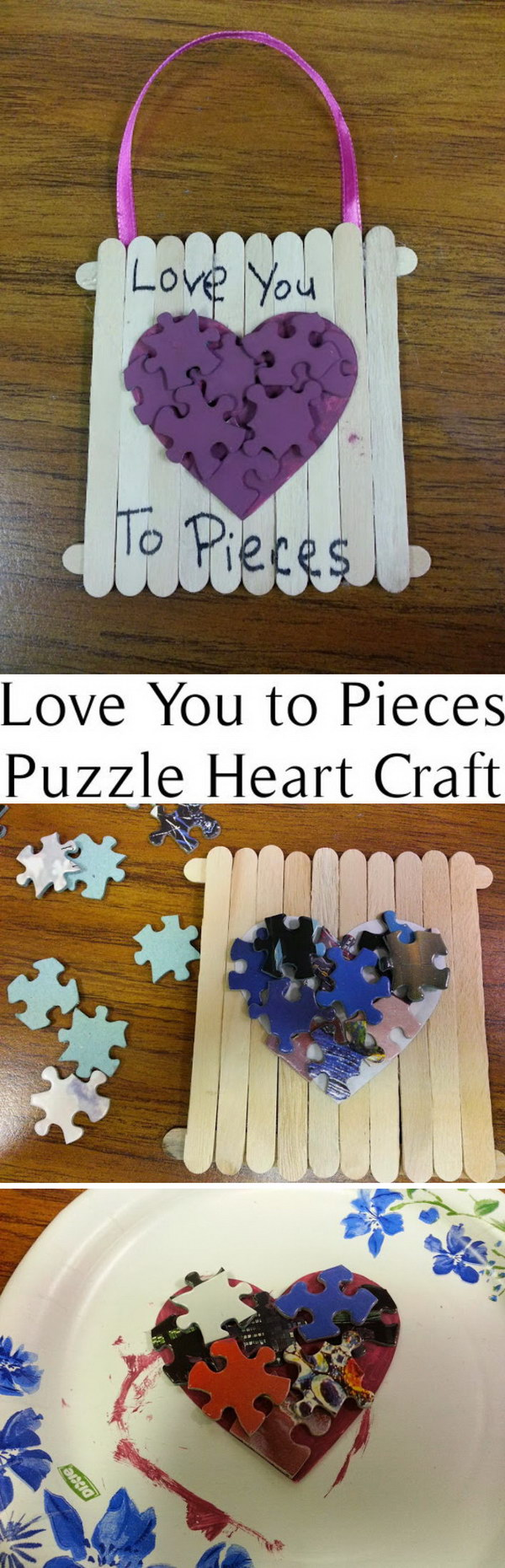 Love You to Pieces Puzzle Heart Craft.