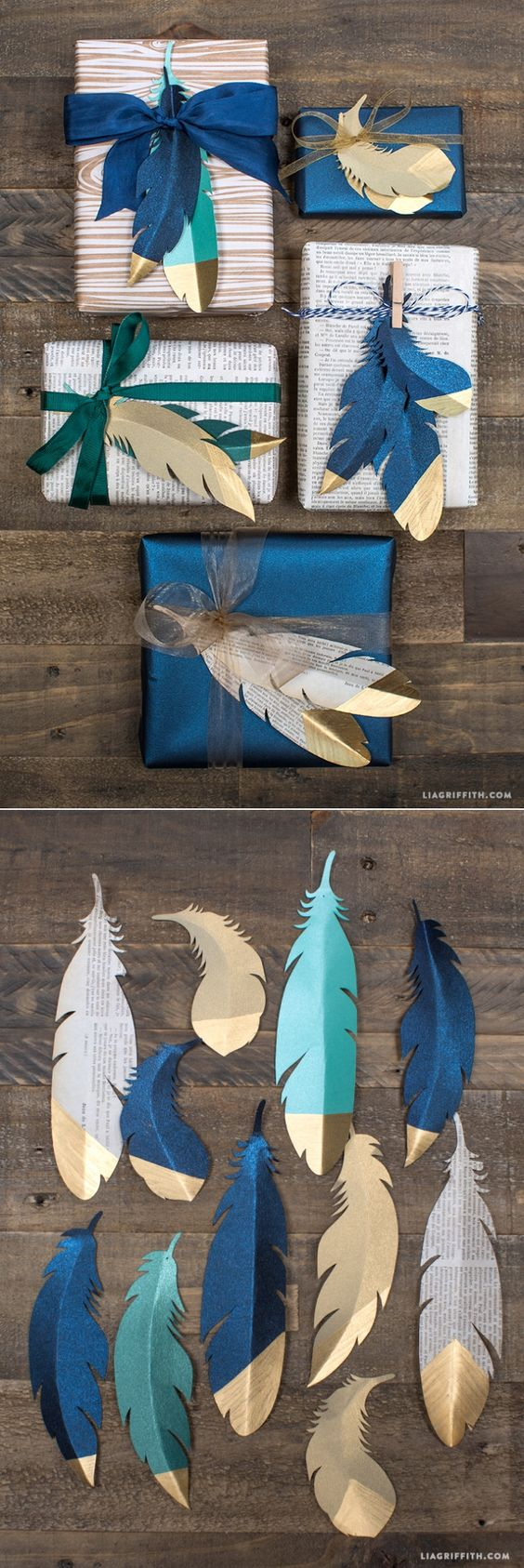 Gold Tipped Paper Feathers.