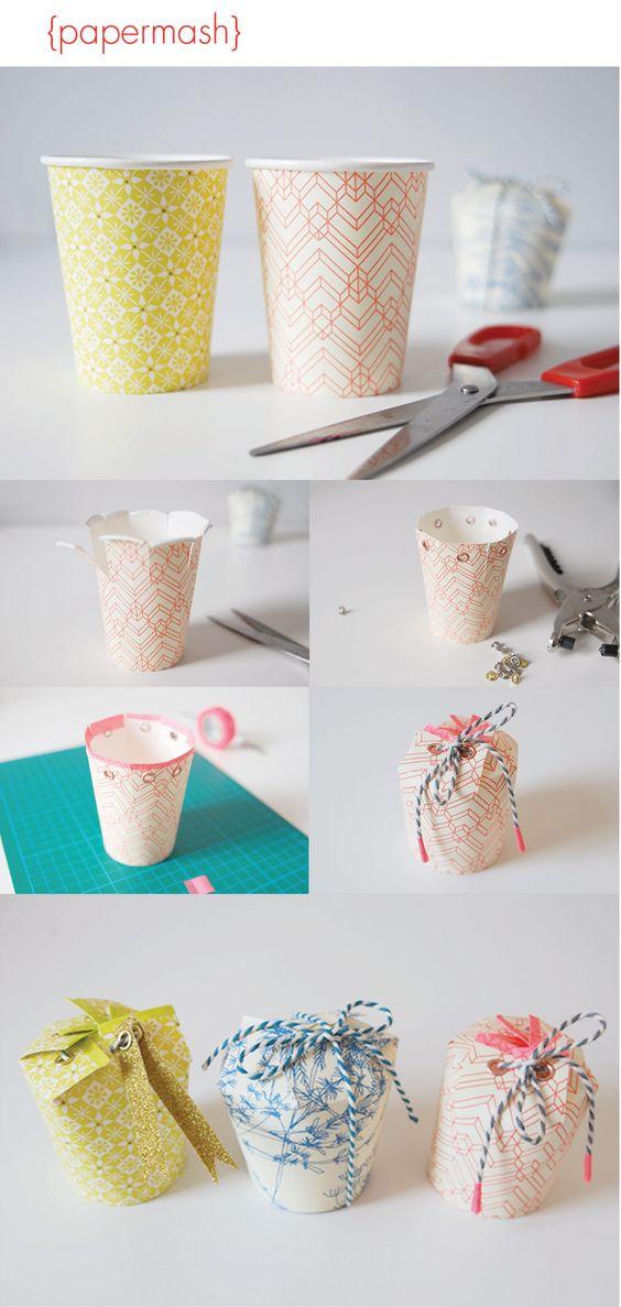 DIY Paper Cup Gift Box.