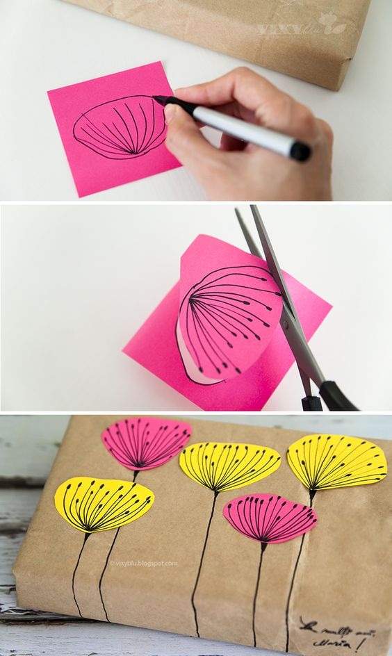 Fancy Up Your Gifts with Brown Craft Paper and Post-its.