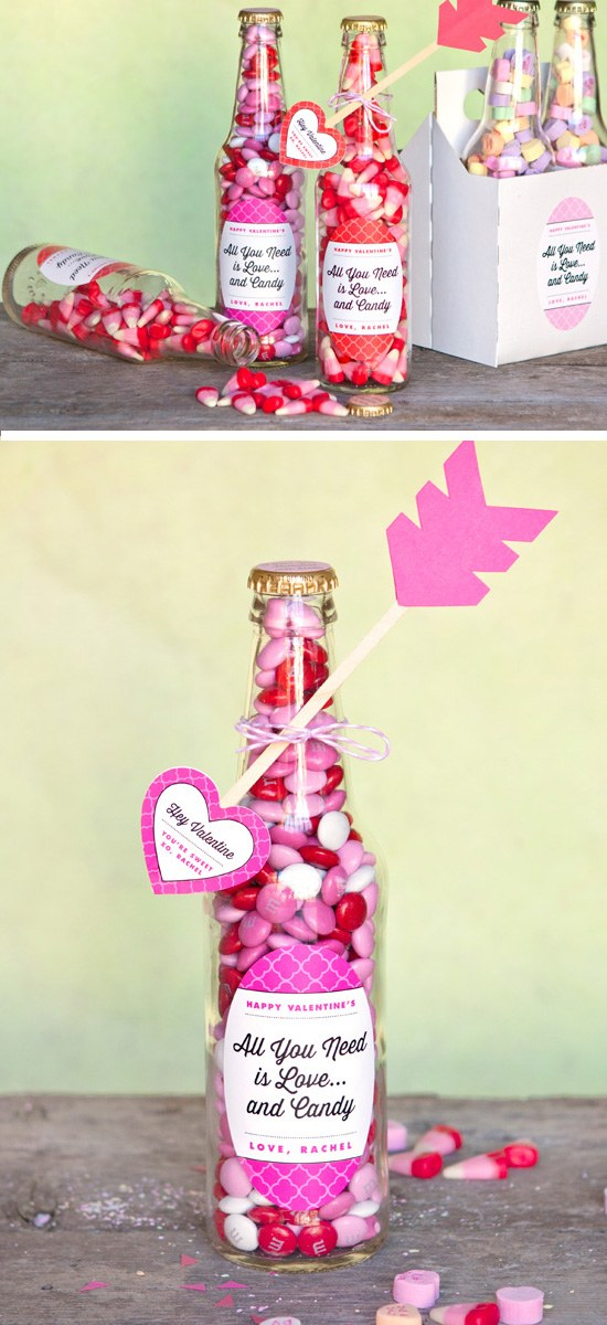 Valentine Candy Bottles & DIY Heart Arrows.