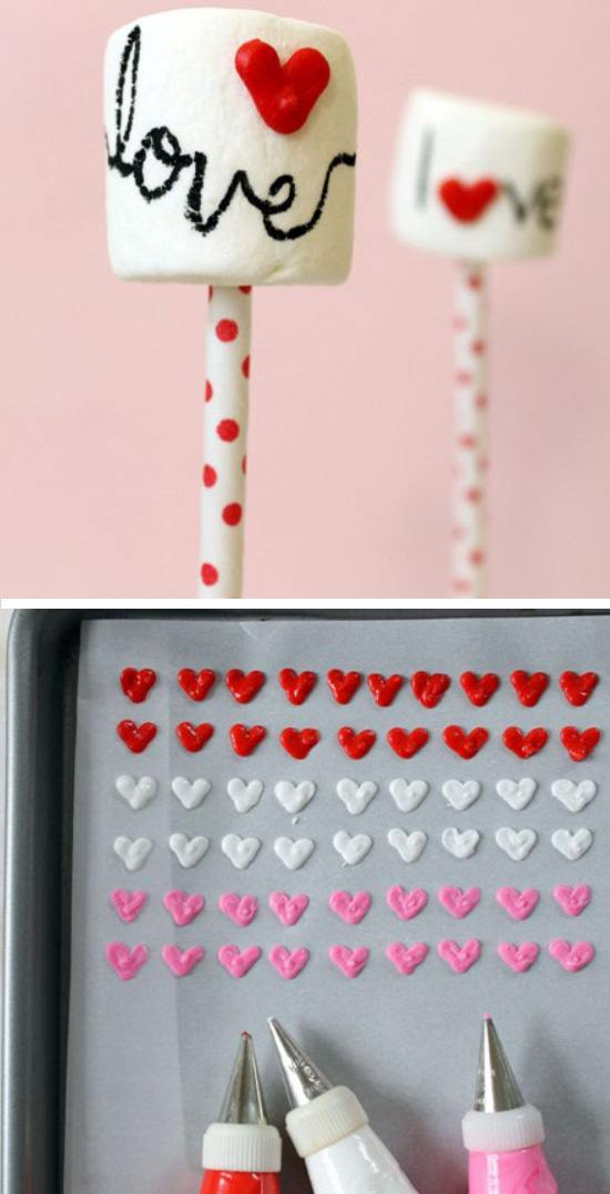 Marshmallow Pops with Heart Sprinkles.