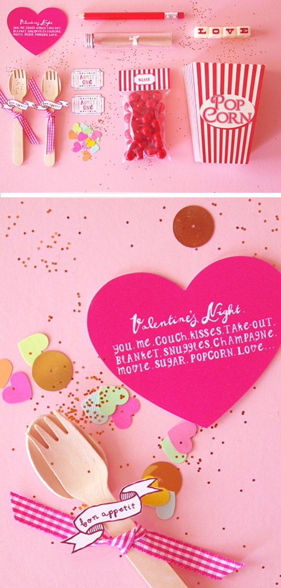 DIY Valentine Movie Popcorn Invitation.