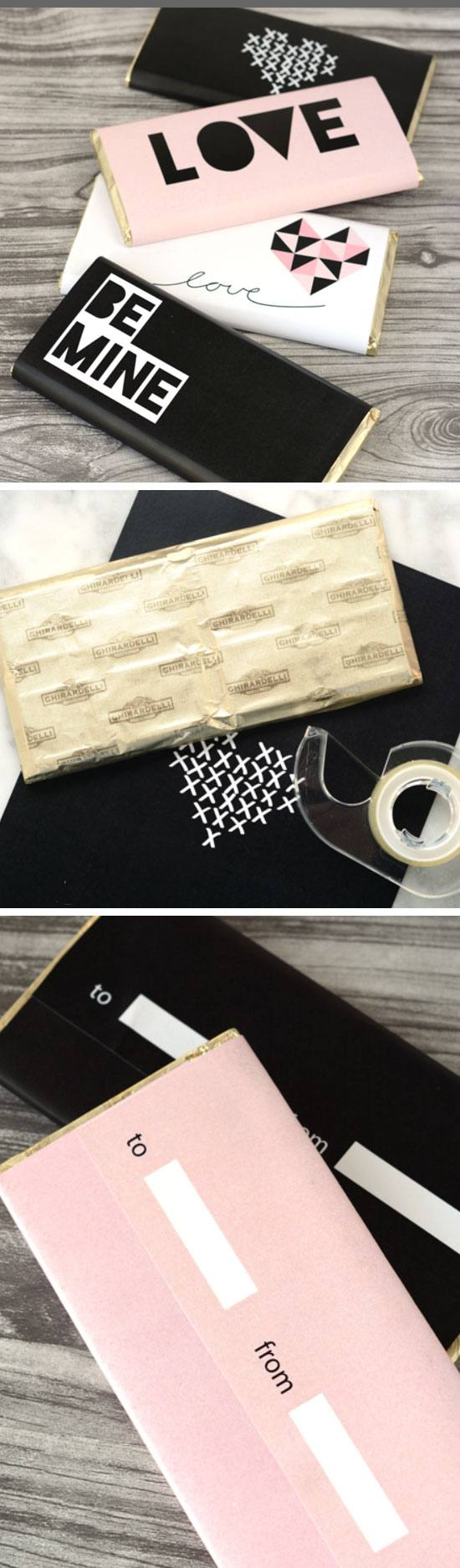 Retro Printable Valentine's Day Chocolate Bar Wraps.