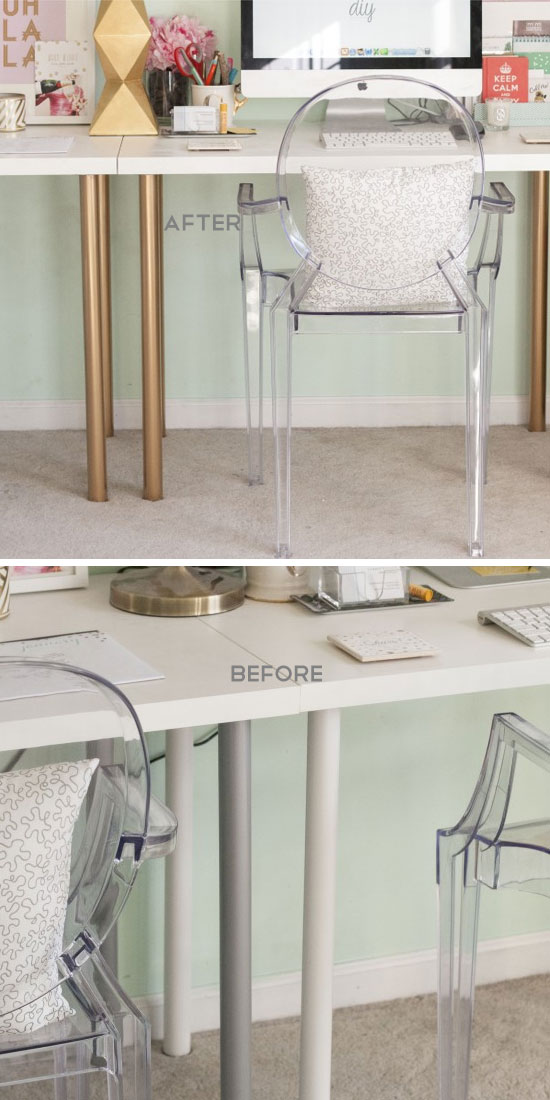 Dress Up Your Desks Legs With Spray Paint.
