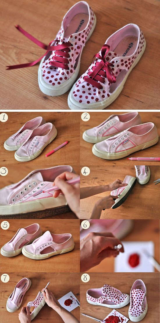 Use Satin Ribbons to Make Up Your Old Sneakers.