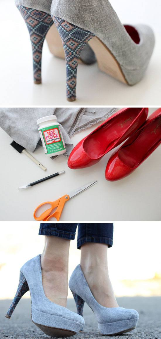 Renovate Your Old High Heels With Fabric.