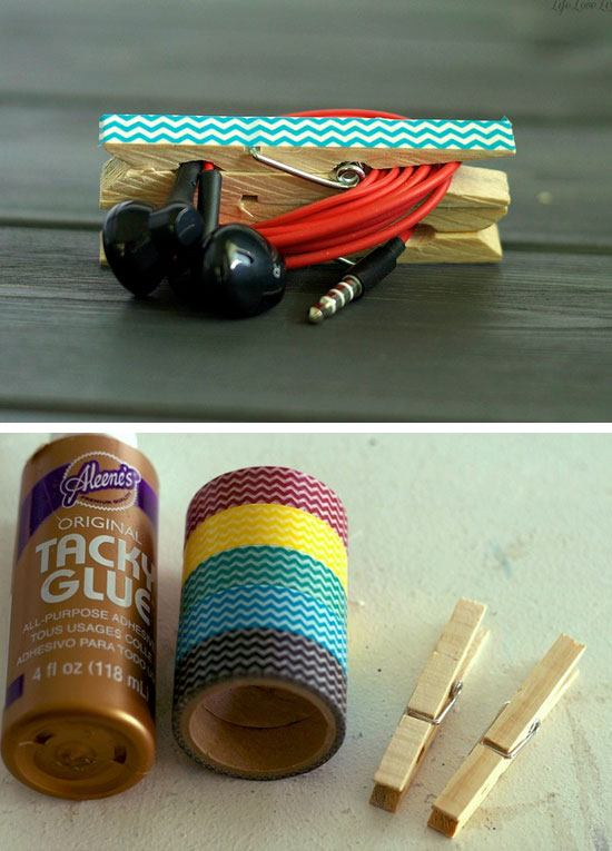 DIY Clothespin Headphone Clip Organizer.