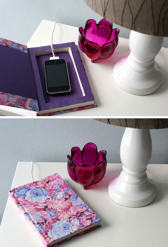 Upcycle an Old Book Into a Pretty Charger Station.