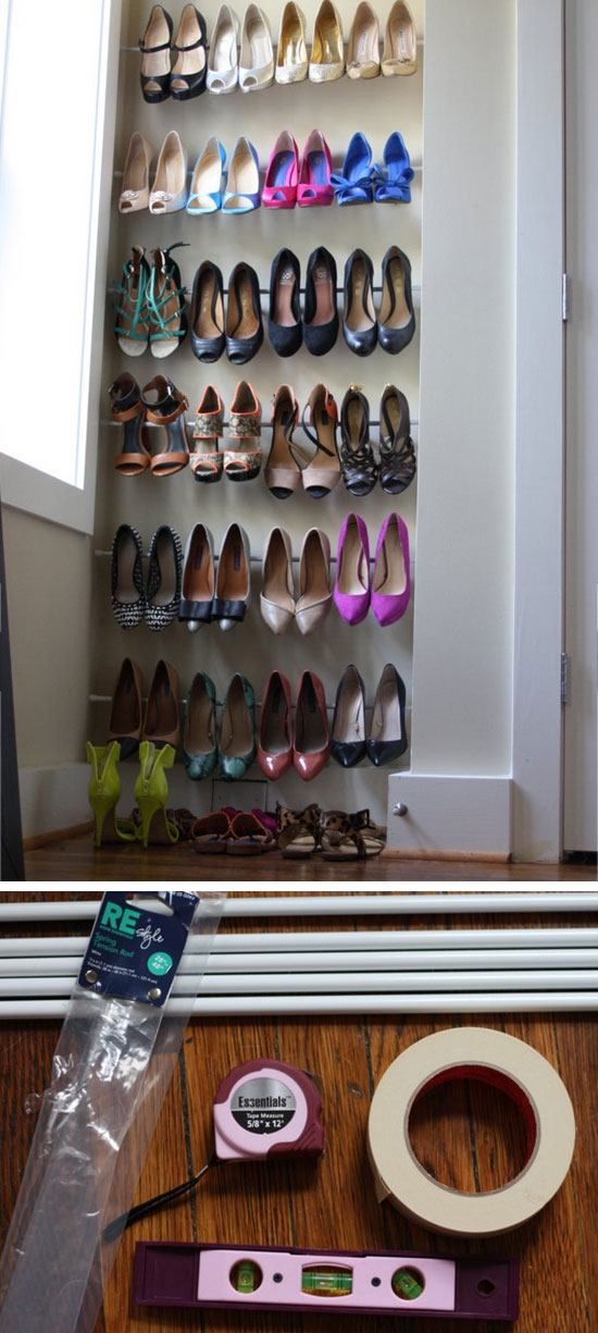Use Tension Rods for Easy Shoe Storage.
