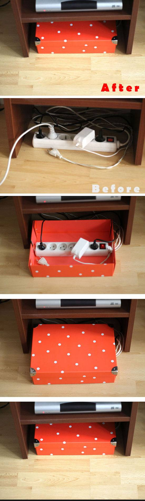 Hide Cables in Shoe Box.