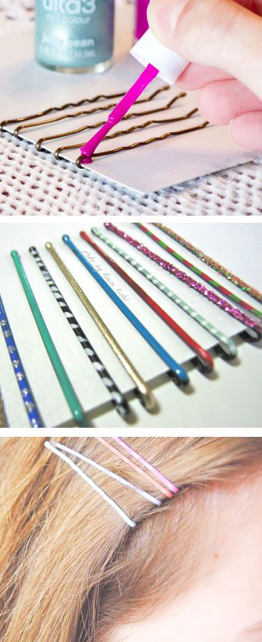 Re-Style Your Bobby Pins with Nail Polish.