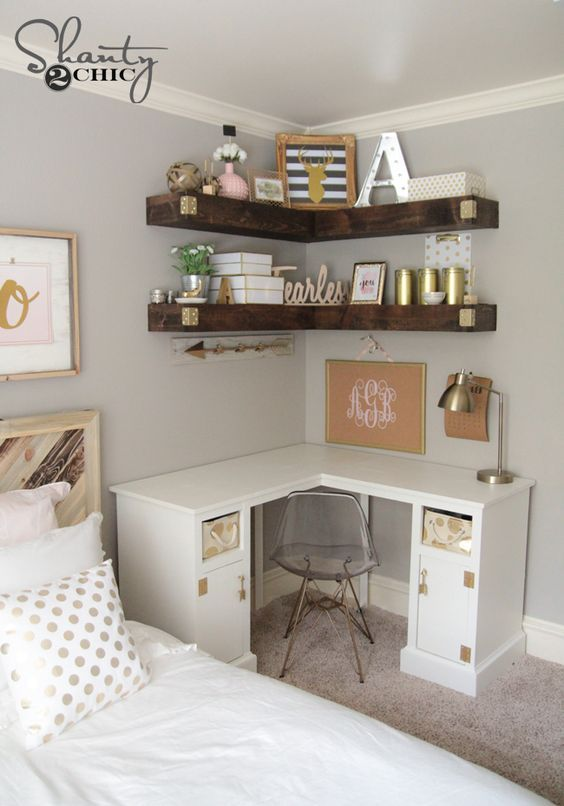 Add More Storage to Your Small Space with Some DIY Floating Corner Shelves.