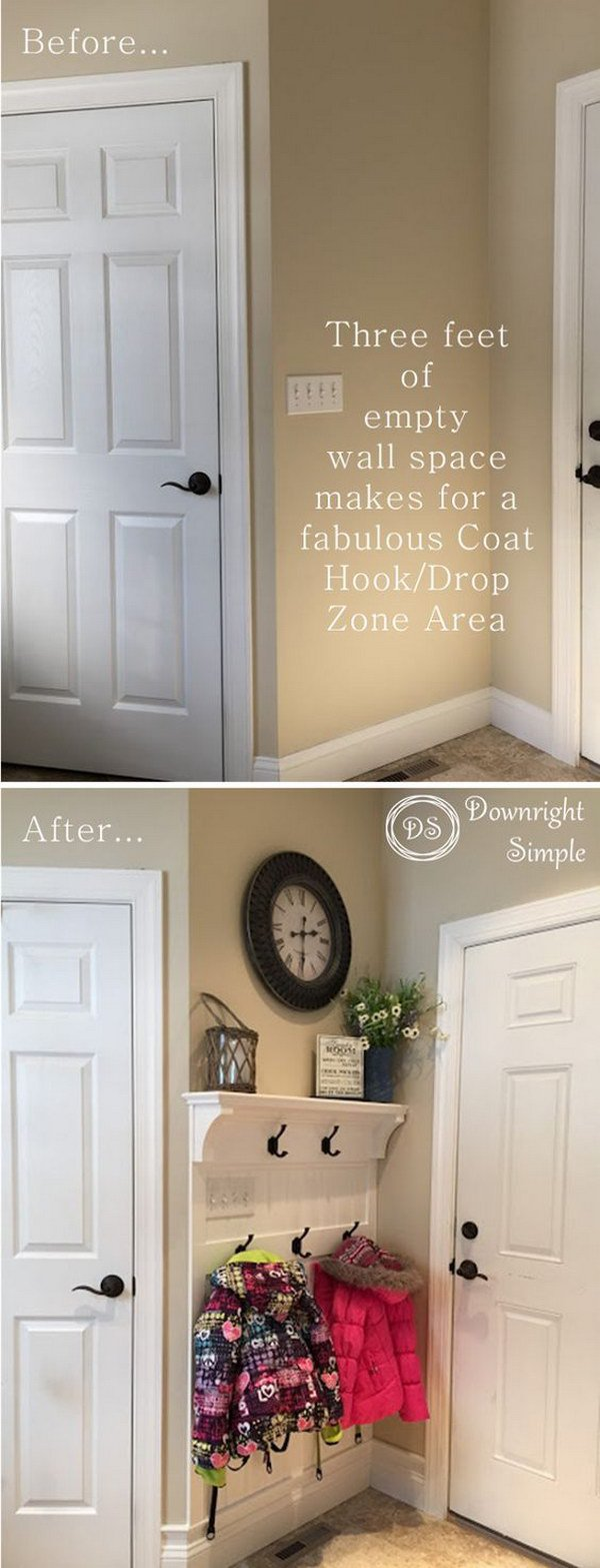 Even a Tiny 3-feet Empty Wall can Make for a Great Coat Drop Zone Area.