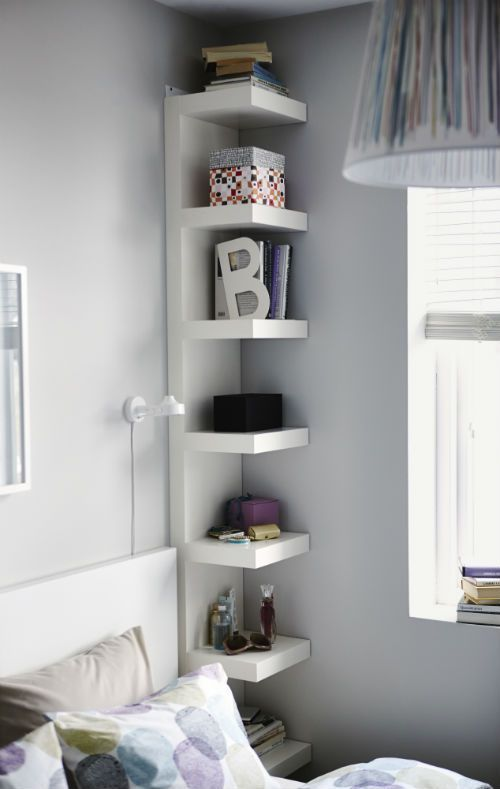 Narrow IKEA Lack Shelves Help You Use Small Wall Spaces Effectively by Accommodating Small Items in a Minimum of Space.