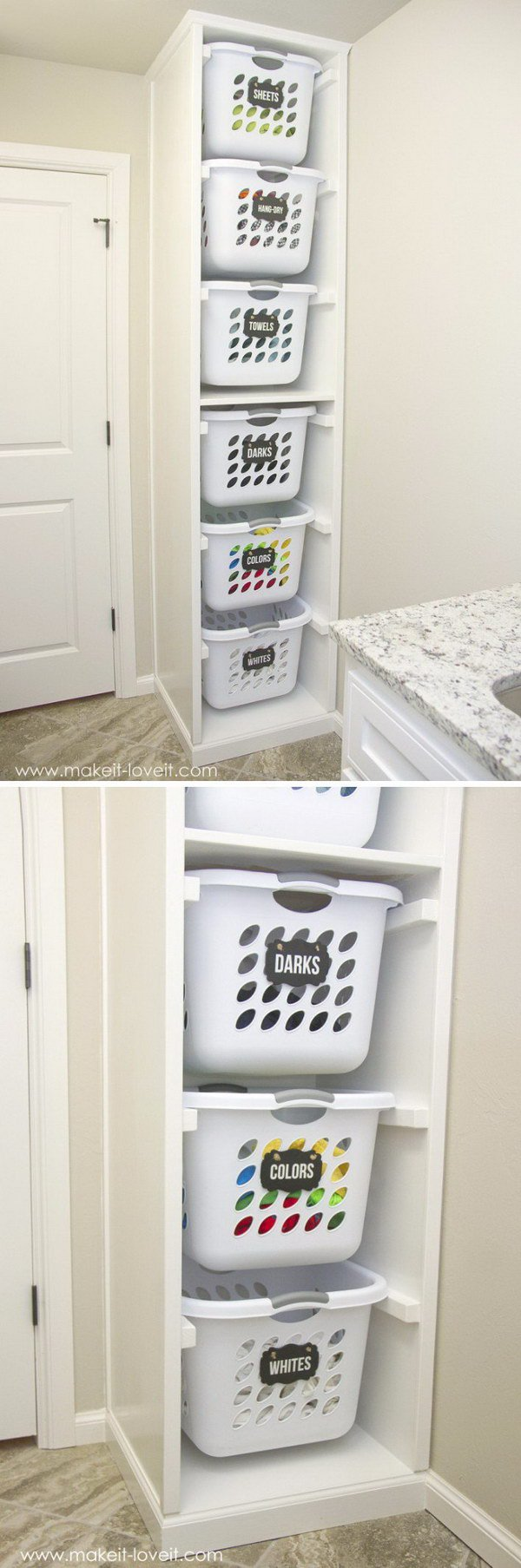 50 easy storage ideas for small spaces - Laundry basket ideas for small space ideas ...