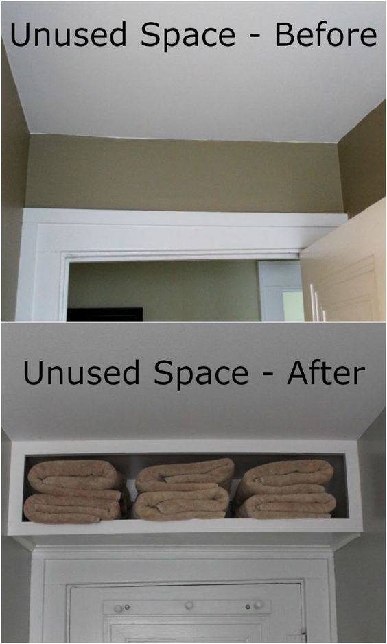 Use Free Space Above a Bathroom Door for Storage.