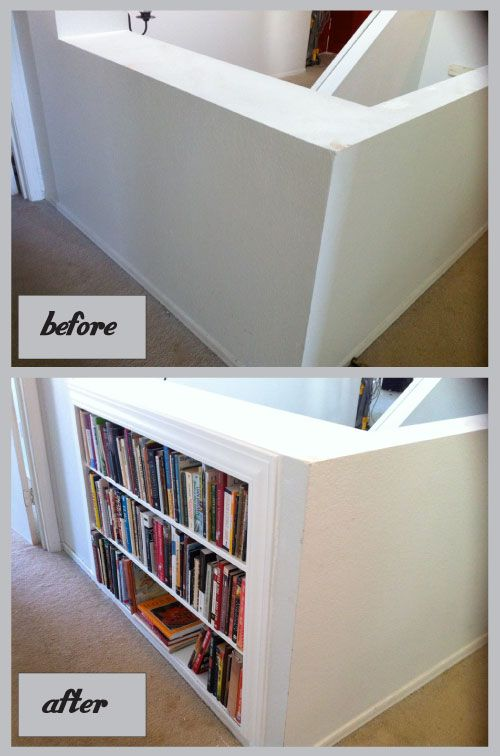 Add Book Shelves Between The Studs.