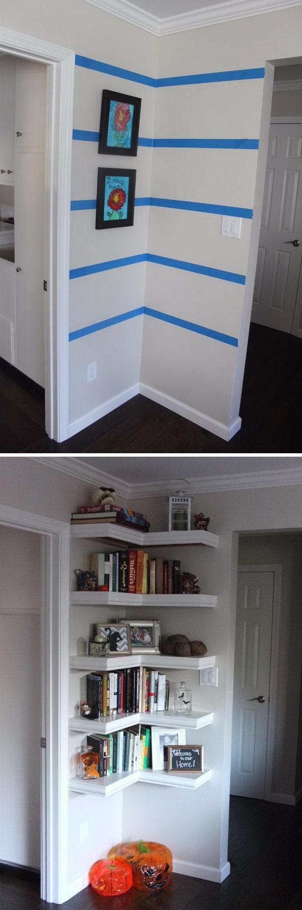 Install Shelving in the between Doors Corner.