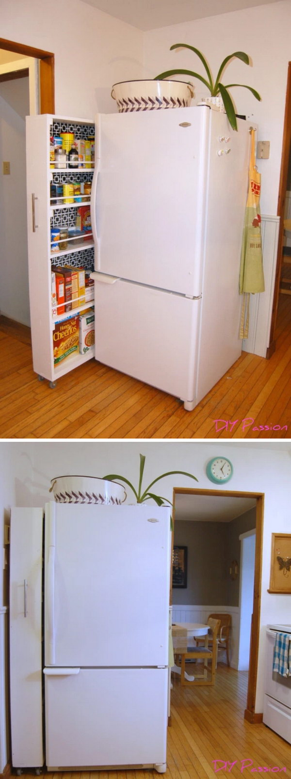 Make Use of the Space Between the Wall and the Fridge with this DIY Rolling Pantry.