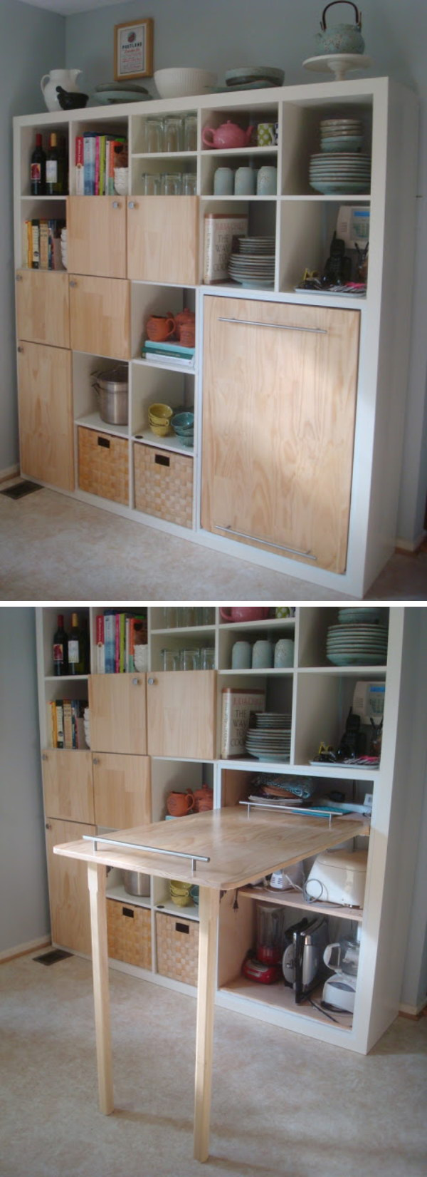 Pull-out Counter Top for Kitchen Storage.