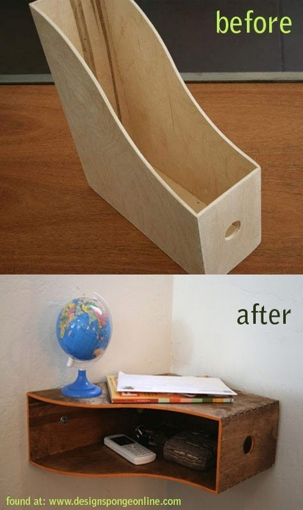 Mount a Magazine Rack in the Corner for Storing Keys, Bills and Other Small Items.