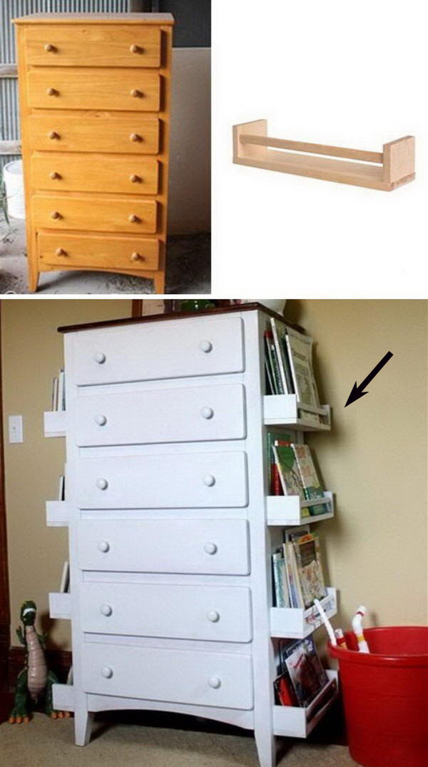 Attach Racks to Sides of Dresser to Store Books and Magazines.