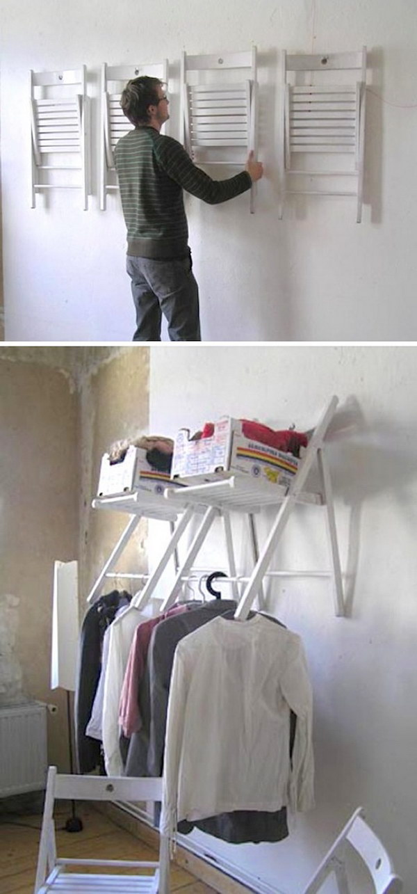 Hanging Chair on the Wall as a Foldable Storage Shelf.
