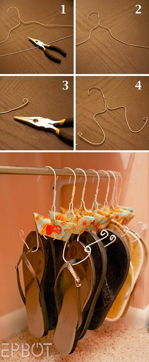 DIY Flip Flop Storage.