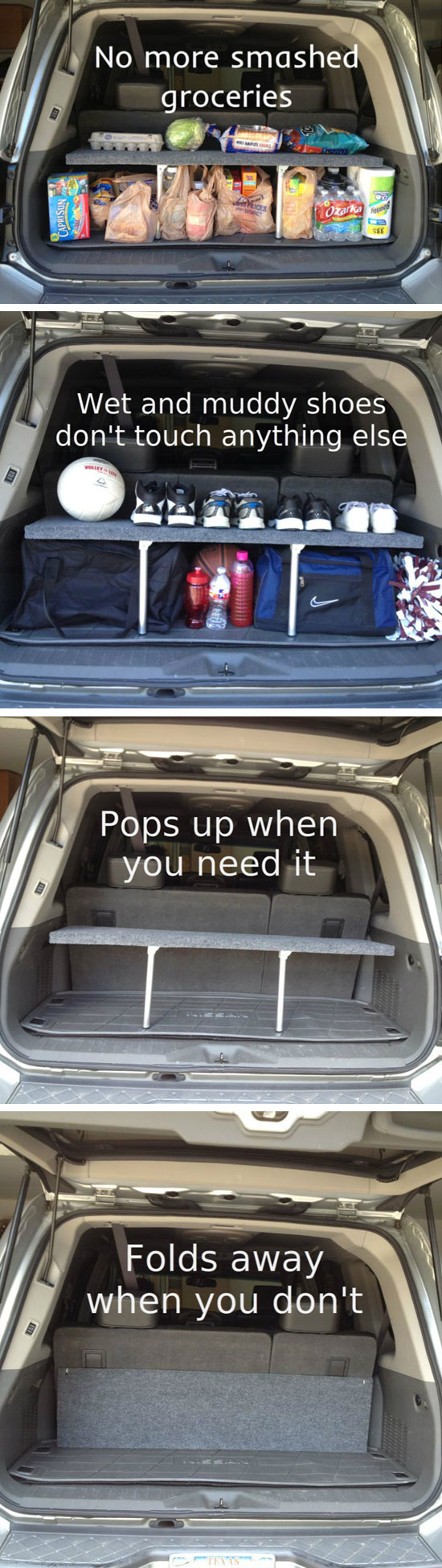 Handy Pop-up Trunk Shelf.