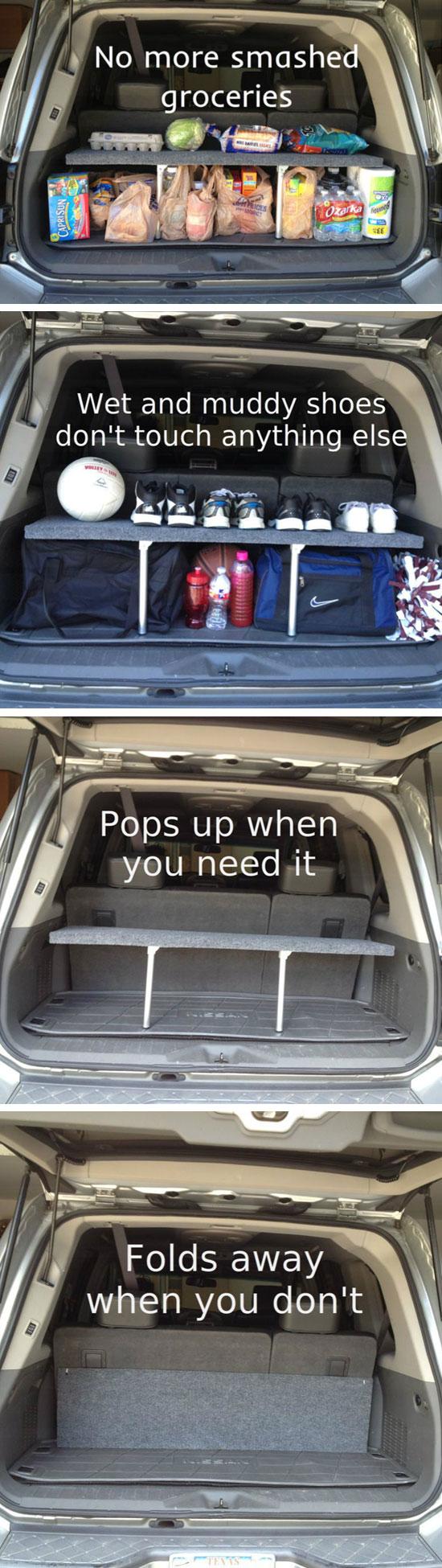 Handy Pop-up Trunk Shelf.