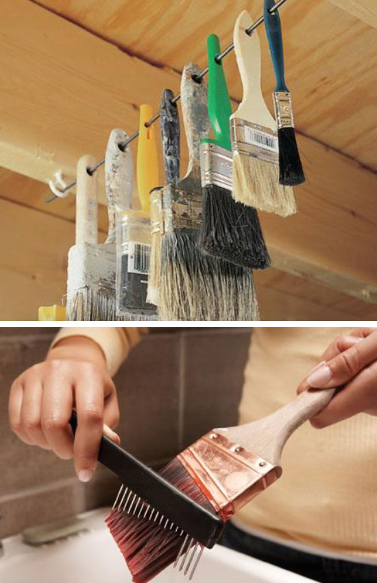 Hang Paint Brushes on Rod.