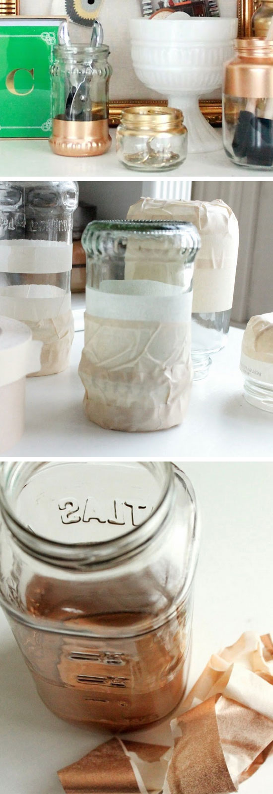 Gold Sprayed Jars.