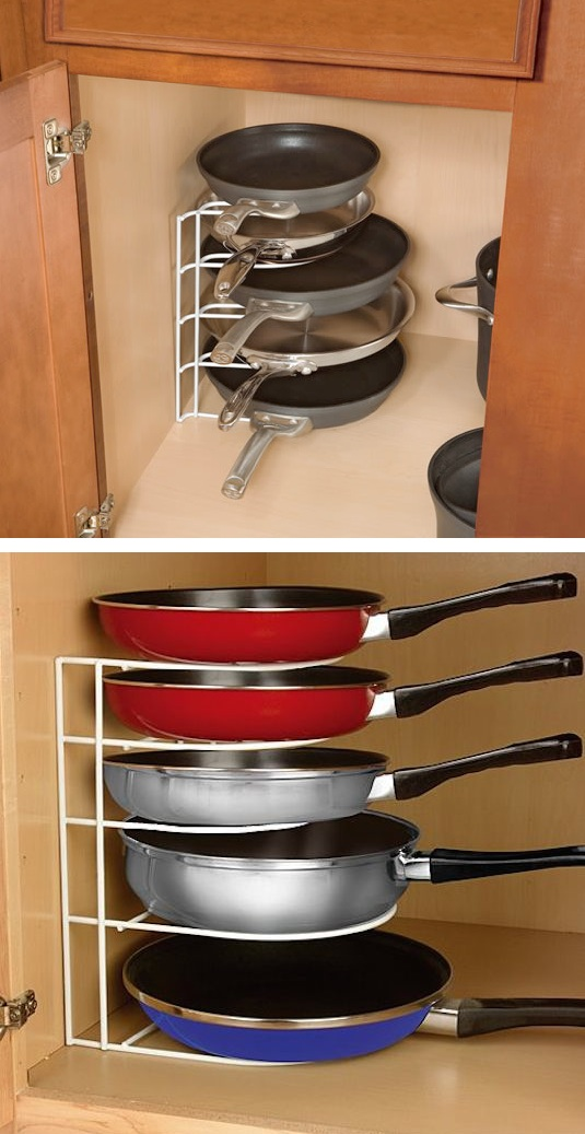 Use Pan Organizer Rack to Make Better Use of Your Cabinet Space.